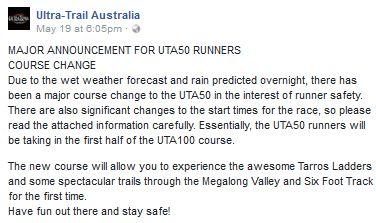 MAJOR ANNOUNCEMENT FOR UTA50 RUNNERS